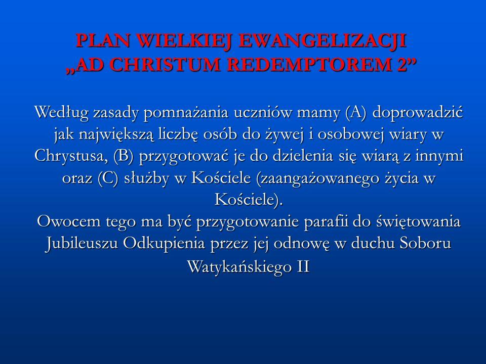 """PLAN WIELKIEJ EWANGELIZACJI """"AD CHRISTUM REDEMPTOREM 2"""" Według zasady pomnażania uczniów mamy (A) doprowadzić jak największą liczbę osób do żywej i os"""