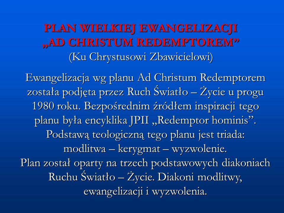 """PLAN WIELKIEJ EWANGELIZACJI """"AD CHRISTUM REDEMPTOREM (Ku Chrystusowi Zbawicielowi) Etapy planu: (1) MODLITWA """"Niech zstąpi Duch Twój."""