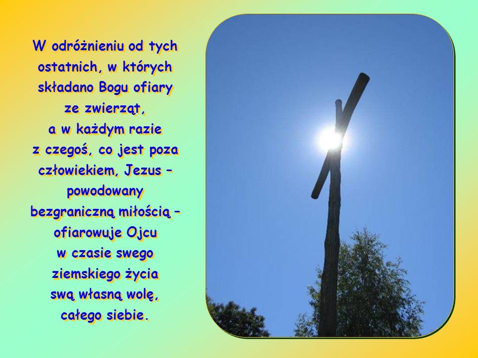W odróżnieniu od tych ostatnich, w których składano Bogu ofiary ze zwierząt, a w każdym razie z czegoś, co jest poza człowiekiem, Jezus – powodowany bezgraniczną miłością – ofiarowuje Ojcu w czasie swego ziemskiego życia swą własną wolę, całego siebie.