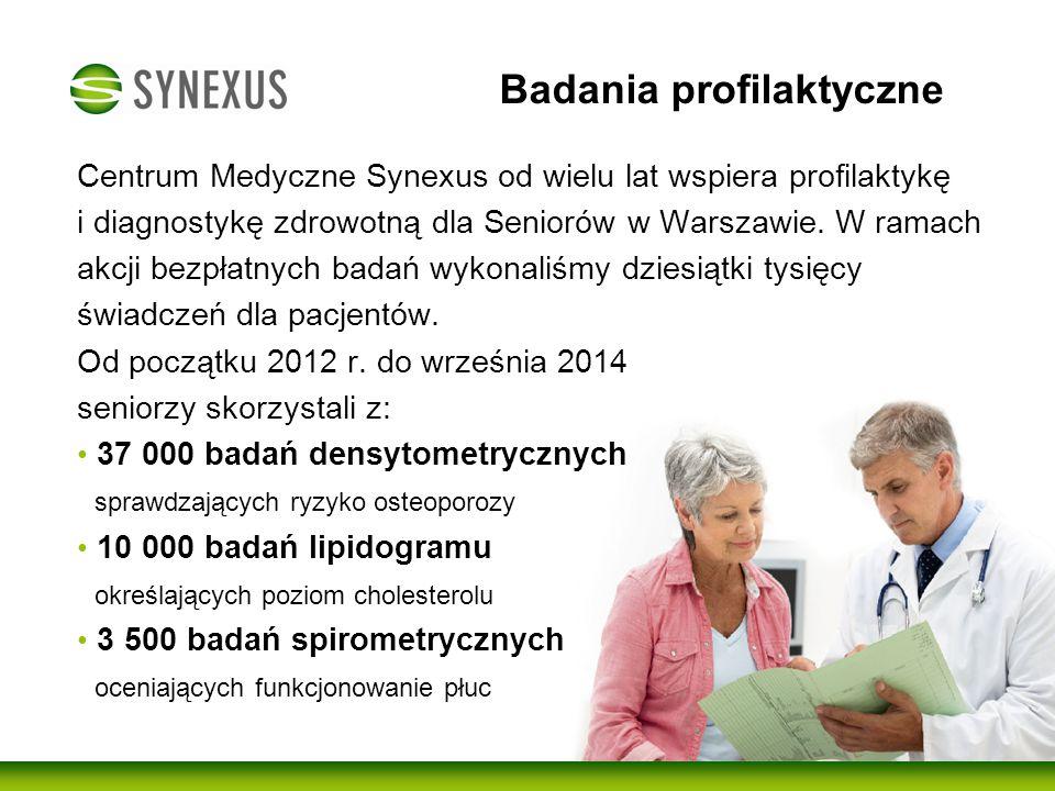 """Synexus dla Seniorów Cenrum Medyczne Synexus zdobyło pierwsze miejsce w plebiscycie """"Przyjazny Seniorom przyznane przez uczestników Sopockich Targów Seniora."""