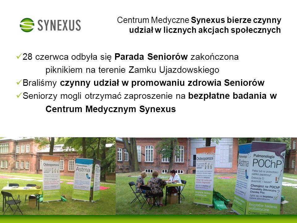 Od 3 lat współpracujemy z międzynarodową fundacją mali bracia Ubogich 5 października byliśmy obecni na obchodach Międzynarodowego Dnia Seniora w Ogrodzie Saskim Promowalismy zdrowie seniorow - wykonywalismy bezpłatne badania: densytometrię, pomiar cisnienia, pomiar poziomu glukozy Centrum Medyczne Synexus bierze czynny udział w licznych akcjach społecznych