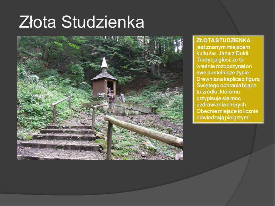 Złota Studzienka ZŁOTA STUDZIENKA - jest znanym miejscem kultu św. Jana z Dukli. Tradycja głosi, że tu właśnie rozpoczynał on swe pustelnicze życie. D