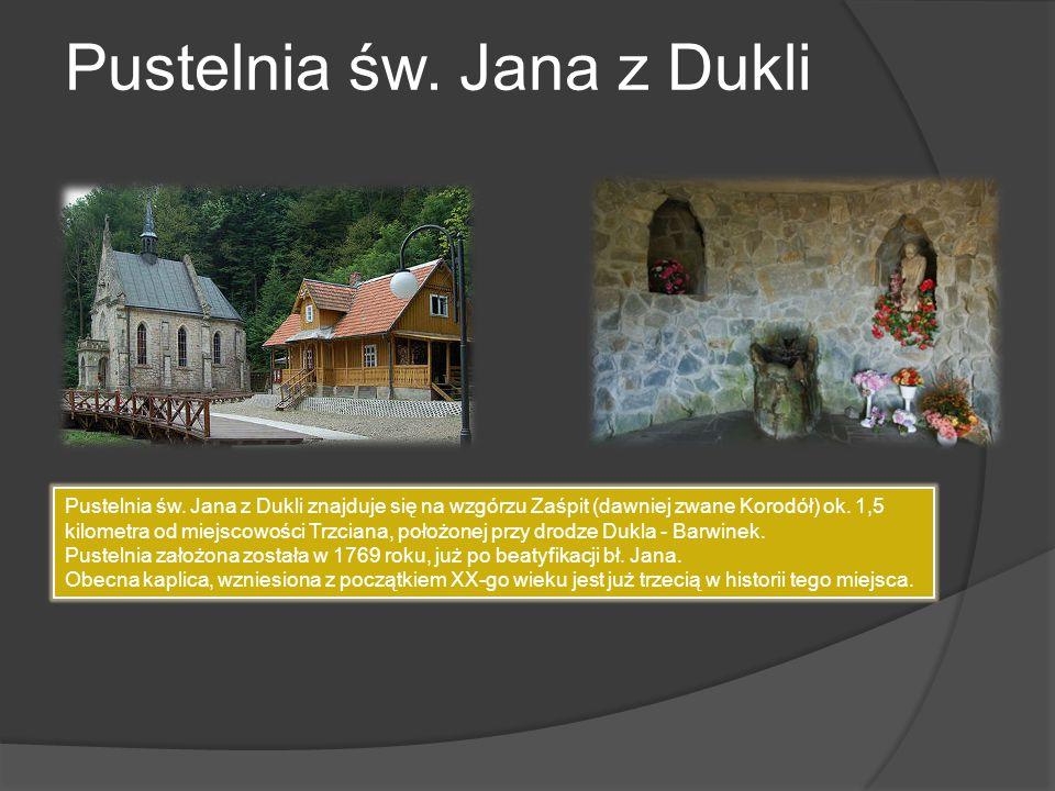 Pustelnia św. Jana z Dukli Pustelnia św. Jana z Dukli znajduje się na wzgórzu Zaśpit (dawniej zwane Korodół) ok. 1,5 kilometra od miejscowości Trzcian