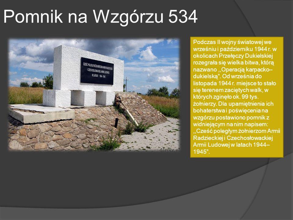 Pomnik na Wzgórzu 534 Podczas II wojny światowej we wrześniu i październiku 1944 r. w okolicach Przełęczy Dukielskiej rozegrała się wielka bitwa, któr
