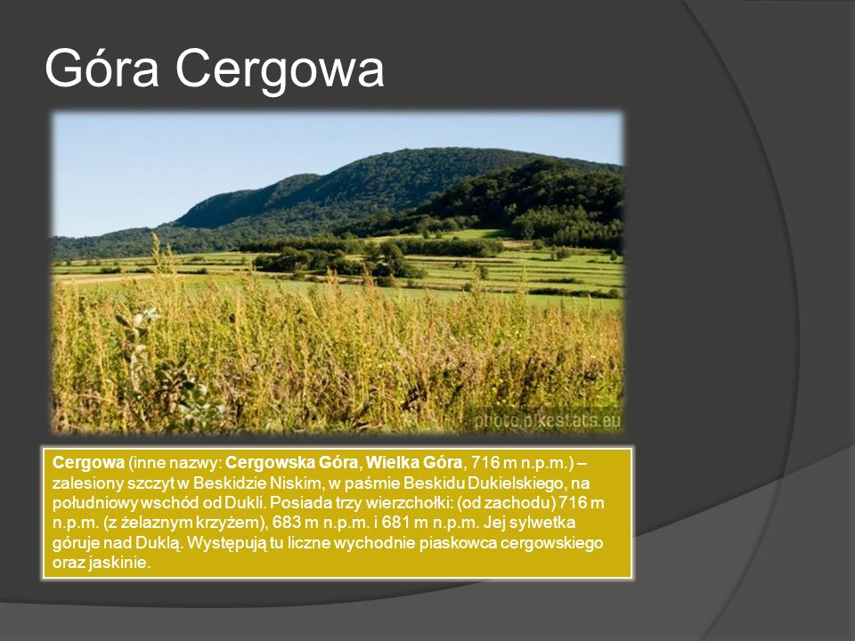 Góra Cergowa Cergowa (inne nazwy: Cergowska Góra, Wielka Góra, 716 m n.p.m.) – zalesiony szczyt w Beskidzie Niskim, w paśmie Beskidu Dukielskiego, na