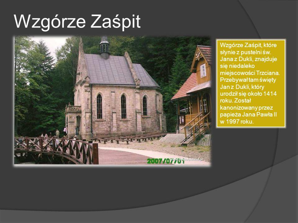 Wzgórze Zaśpit Wzgórze Zaśpit, które słynie z pustelni św. Jana z Dukli, znajduje się niedaleko miejscowości Trzciana. Przebywał tam święty Jan z Dukl