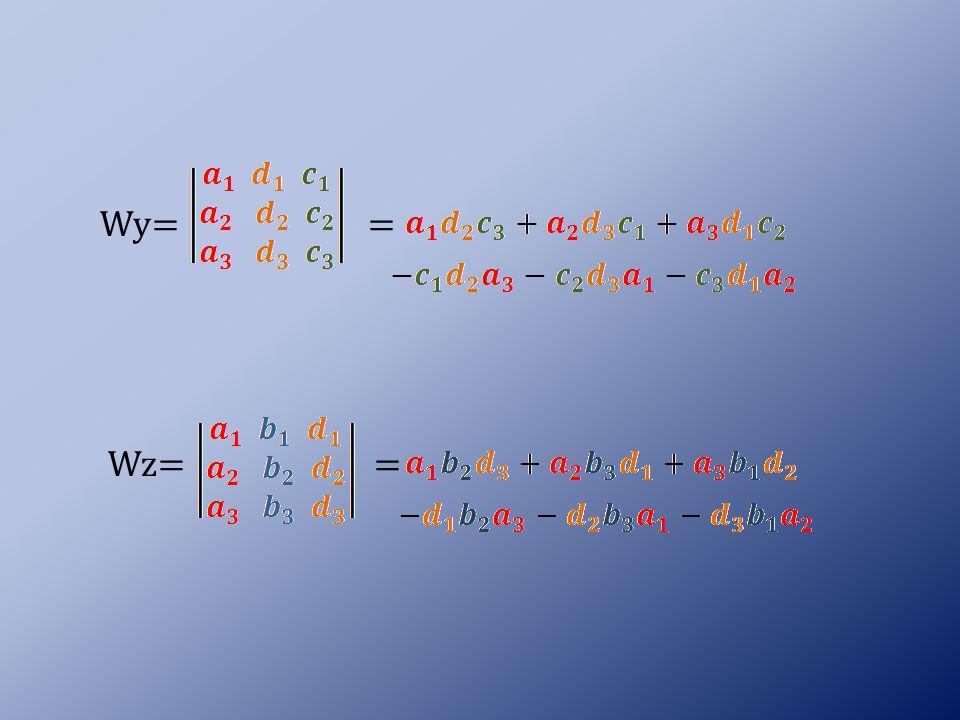Jeżeli: a)W ≠ 0 to trójka liczb (x,y,z) jest jedynym rozwiązaniem układu równań (równania układu są niezależne) b) W = 0 to układ może nie mieć rozwiązań (równania układu są sprzeczne) albo może mieć nieskończenie wiele rozwiązań zależnych albo od jednego parametru albo od dwóch parametrów (równania układu są zależne).