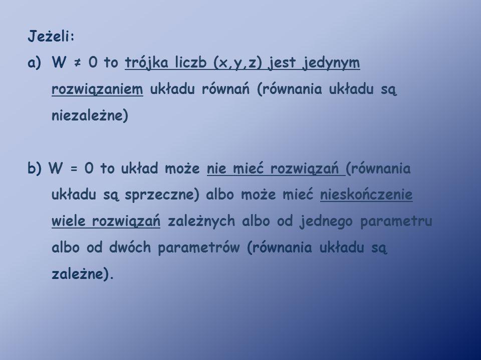 Przykład 1.Rozwiąż układ równań: Obliczamy wyznacznik W, wyznaczniki Wx, Wy, Wz.