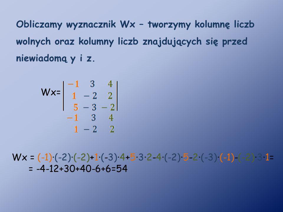 Obliczamy wyznacznik Wx – tworzymy kolumnę liczb wolnych oraz kolumny liczb znajdujących się przed niewiadomą y i z.