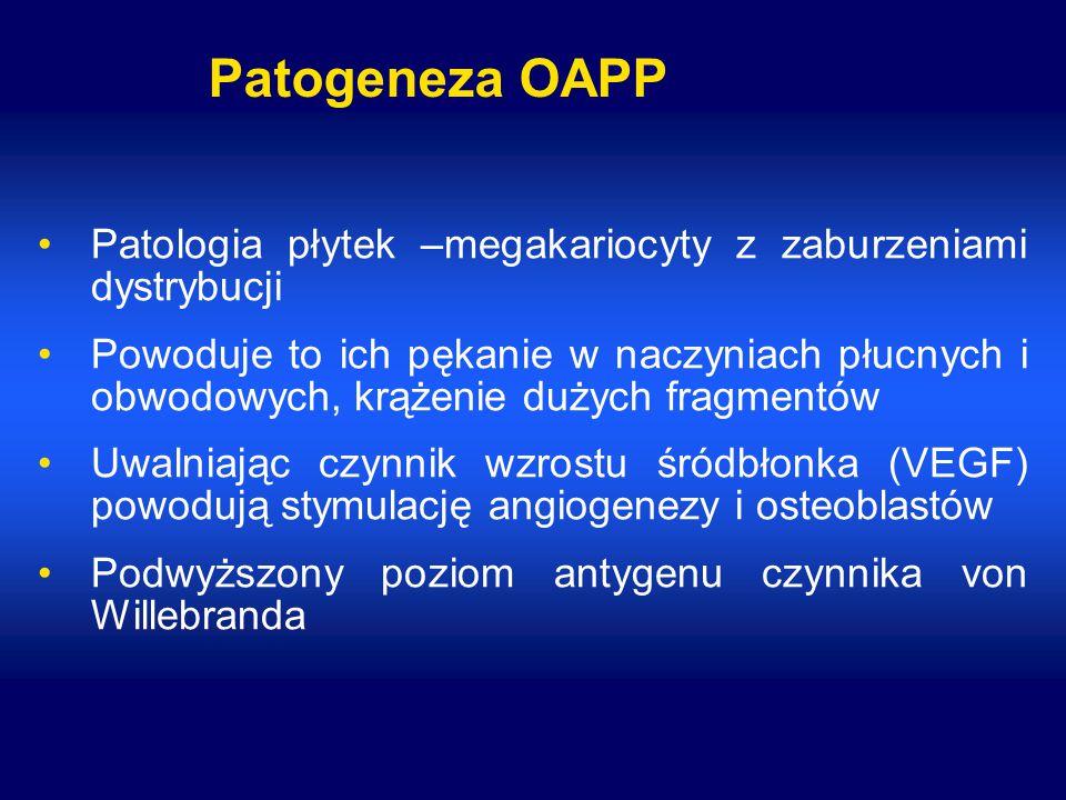 Patogeneza OAPP Patologia płytek –megakariocyty z zaburzeniami dystrybucji Powoduje to ich pękanie w naczyniach płucnych i obwodowych, krążenie dużych