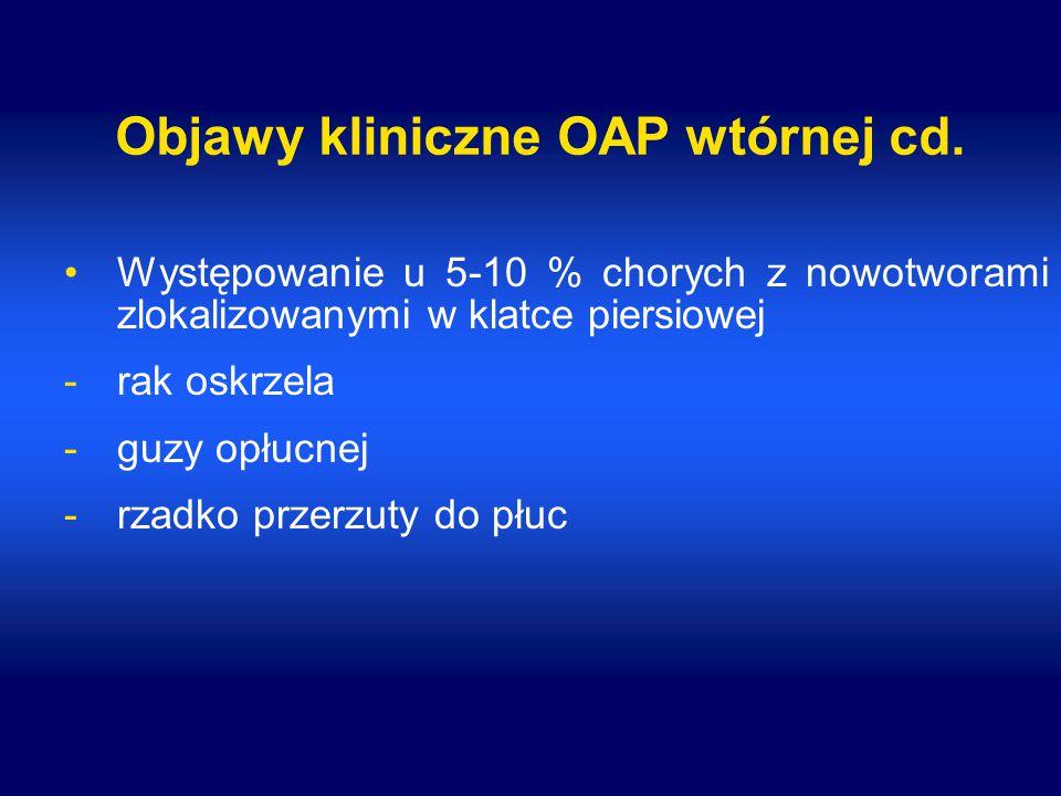 Objawy kliniczne OAP wtórnej cd. Występowanie u 5-10 % chorych z nowotworami zlokalizowanymi w klatce piersiowej -rak oskrzela -guzy opłucnej -rzadko