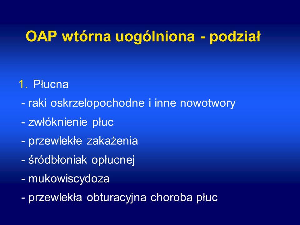 OAP wtórna uogólniona - podział 1.Płucna - raki oskrzelopochodne i inne nowotwory - zwłóknienie płuc - przewlekłe zakażenia - śródbłoniak opłucnej - m