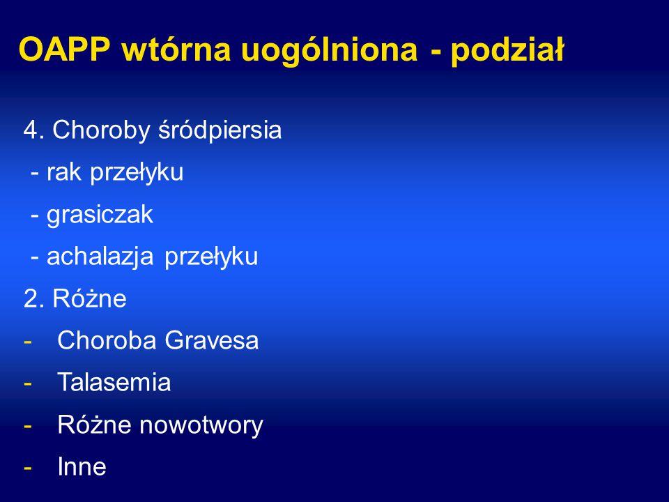 OAPP wtórna uogólniona - podział 4. Choroby śródpiersia - rak przełyku - grasiczak - achalazja przełyku 2. Różne -Choroba Gravesa -Talasemia -Różne no
