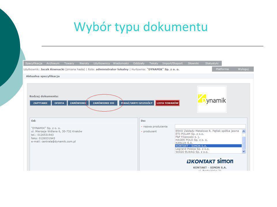 Wybór typu dokumentu