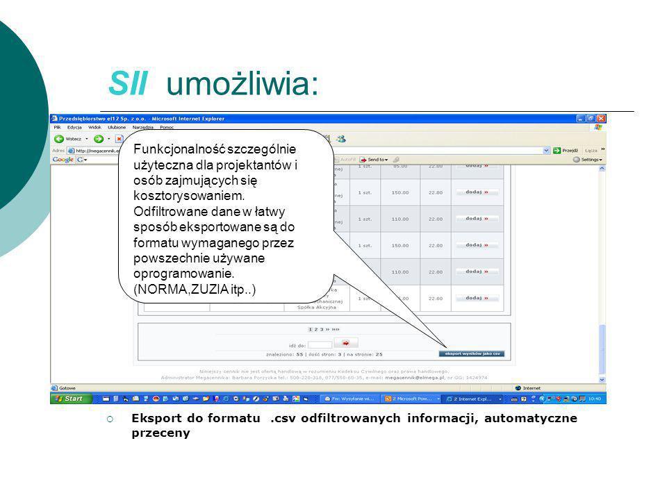 SII umożliwia:  Eksport do formatu.csv odfiltrowanych informacji, automatyczne przeceny Funkcjonalność szczególnie użyteczna dla projektantów i osób zajmujących się kosztorysowaniem.