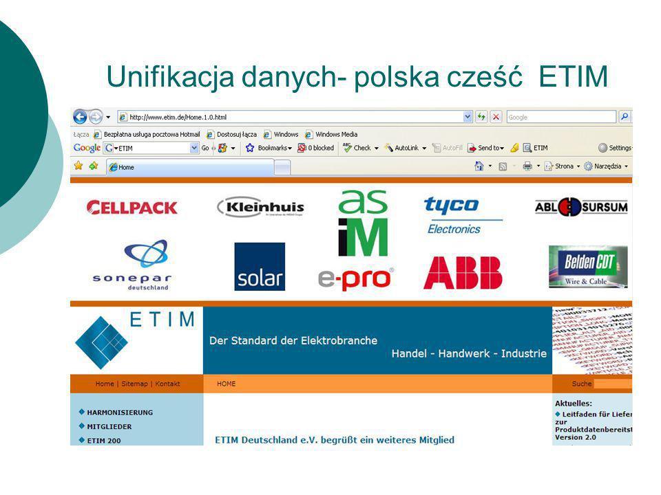 Unifikacja danych- polska cześć ETIM