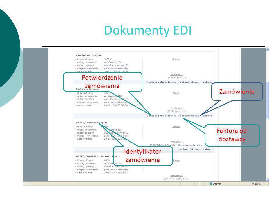 Dokumenty EDI Zamówienie Faktura od dostawcy Potwierdzenie zamówienia Identyfikator zamówienia