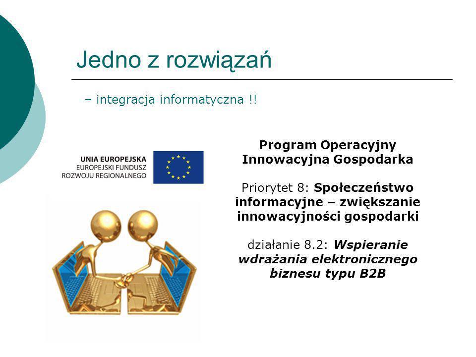 Jedno z rozwiązań – integracja informatyczna !! Program Operacyjny Innowacyjna Gospodarka Priorytet 8: Społeczeństwo informacyjne – zwiększanie innowa