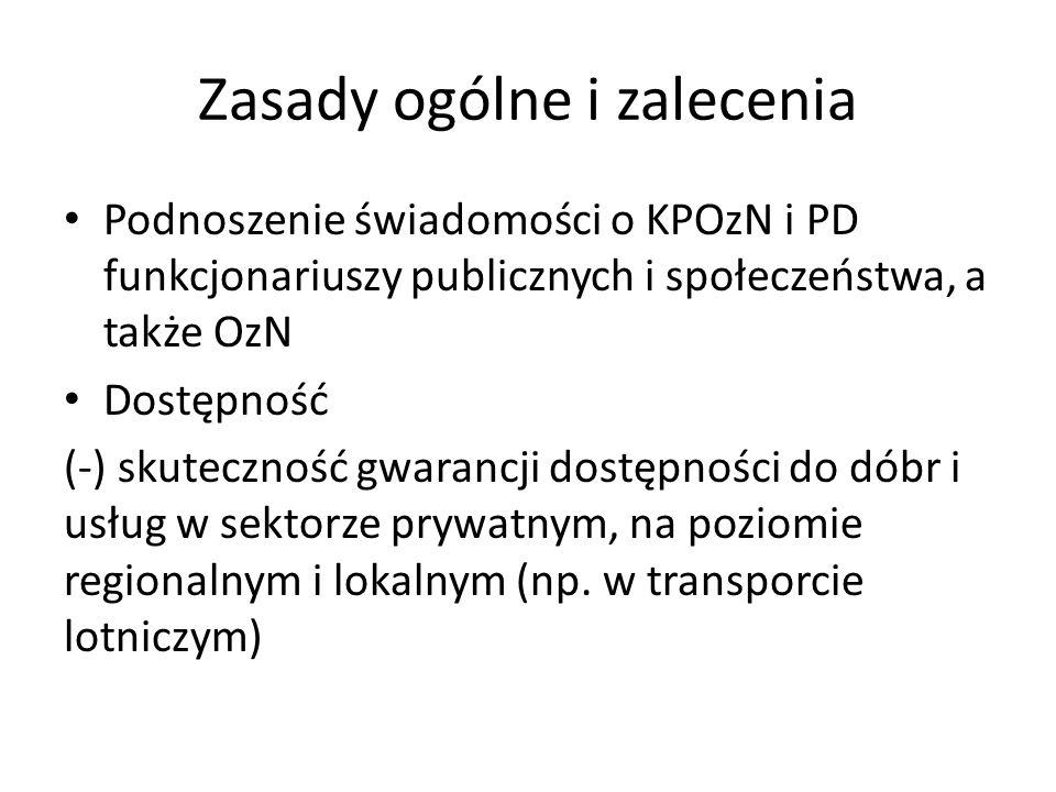 Zasady ogólne i zalecenia Podnoszenie świadomości o KPOzN i PD funkcjonariuszy publicznych i społeczeństwa, a także OzN Dostępność (-) skuteczność gwa