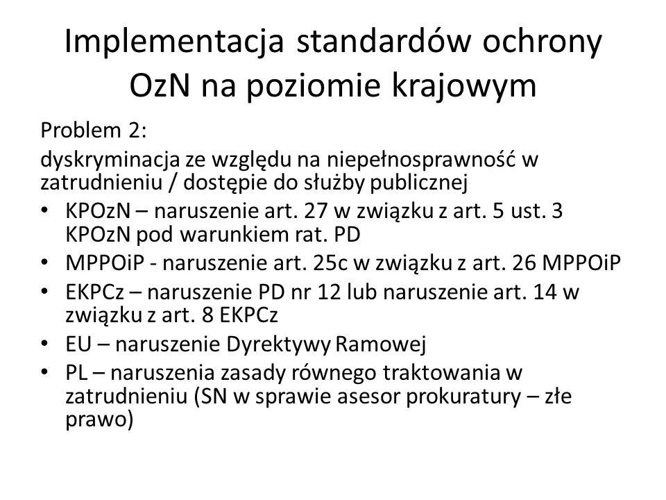 Implementacja standardów ochrony OzN na poziomie krajowym Problem 2: dyskryminacja ze względu na niepełnosprawność w zatrudnieniu / dostępie do służby