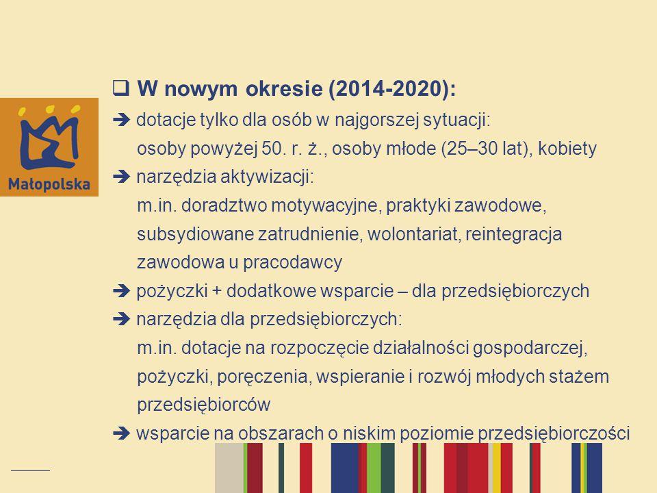 W nowym okresie (2014-2020):  dotacje tylko dla osób w najgorszej sytuacji: osoby powyżej 50.