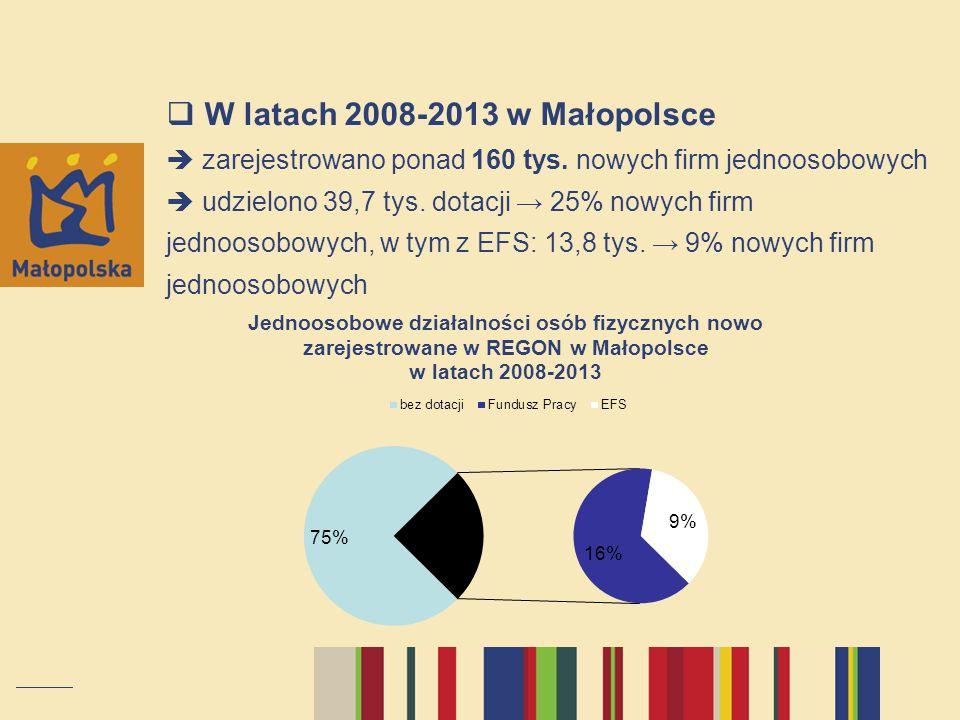  W latach 2008-2013 w Małopolsce  zarejestrowano ponad 160 tys.