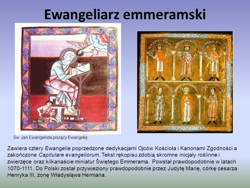 Ewangeliarz emmeramski Zawiera cztery Ewangelie poprzedzone dedykacjami Ojców Kościoła i Kanonami Zgodności a zakończone Capitulare evangeliorum. Teks