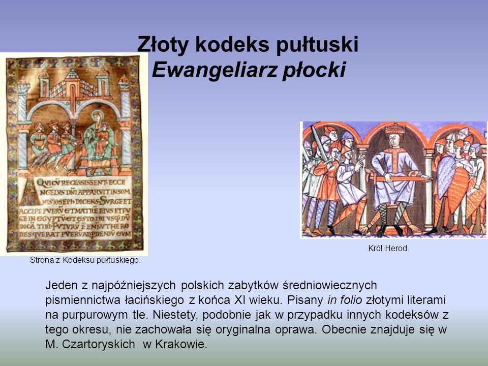 Złoty kodeks pułtuski Ewangeliarz płocki Jeden z najpóźniejszych polskich zabytków średniowiecznych pismiennictwa łacińskiego z końca XI wieku. Pisany