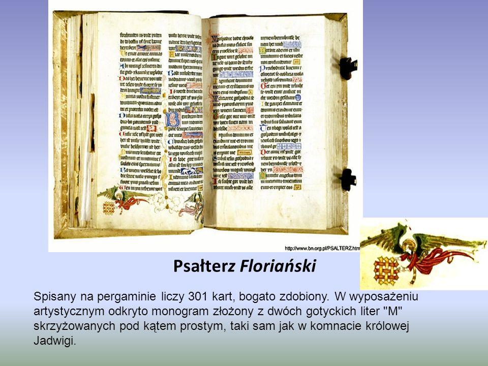 Psałterz Floriański Spisany na pergaminie liczy 301 kart, bogato zdobiony. W wyposażeniu artystycznym odkryto monogram złożony z dwóch gotyckich liter