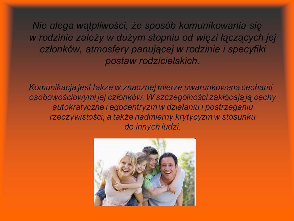 Nie ulega wątpliwości, że sposób komunikowania się w rodzinie zależy w dużym stopniu od więzi łączących jej członków, atmosfery panującej w rodzinie i