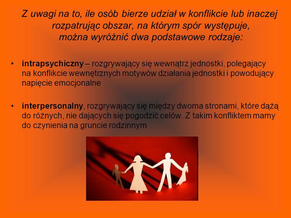 Z uwagi na to, ile osób bierze udział w konflikcie lub inaczej rozpatrując obszar, na którym spór występuje, można wyróżnić dwa podstawowe rodzaje: in