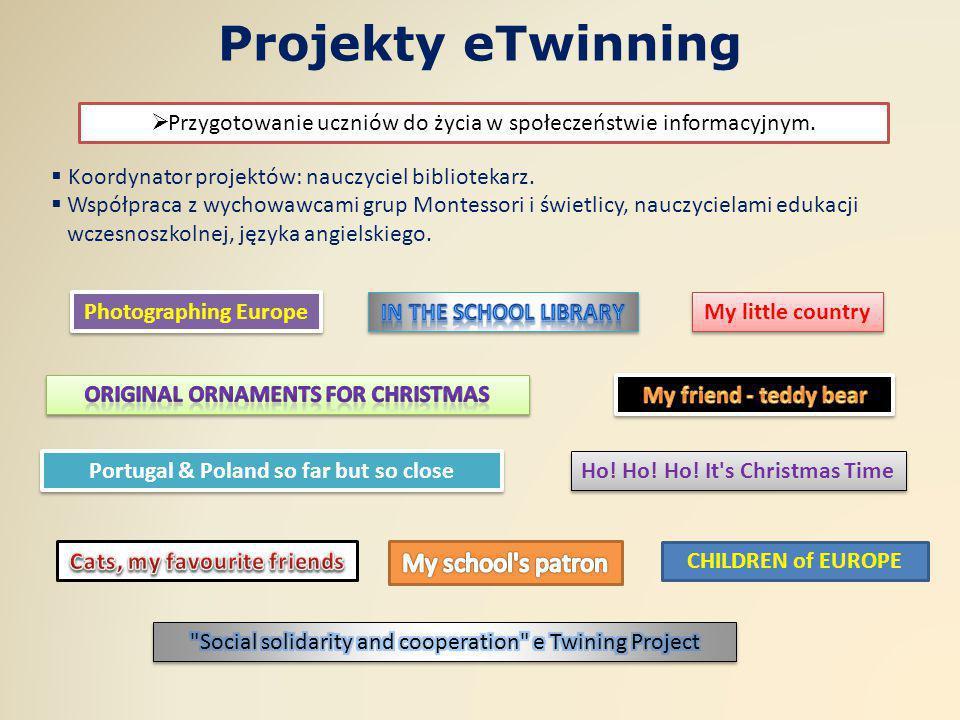 Projekty eTwinning  Koordynator projektów: nauczyciel bibliotekarz.  Współpraca z wychowawcami grup Montessori i świetlicy, nauczycielami edukacji w