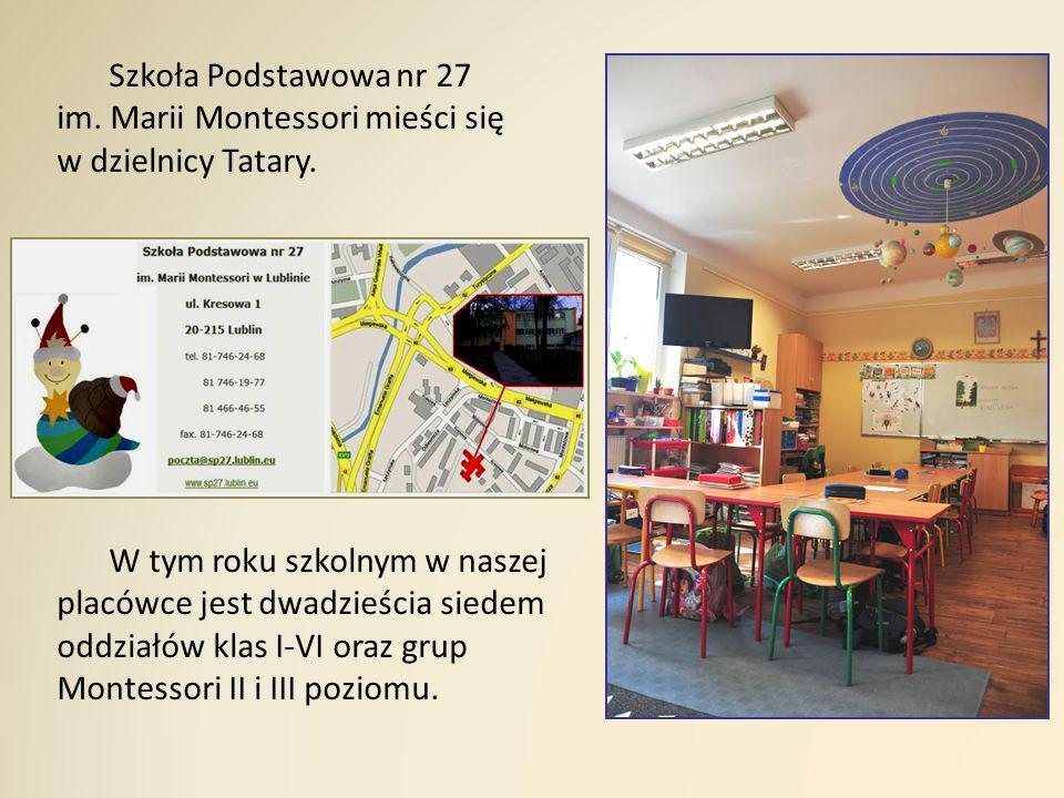Szkoła Podstawowa nr 27 im. Marii Montessori mieści się w dzielnicy Tatary. W tym roku szkolnym w naszej placówce jest dwadzieścia siedem oddziałów kl