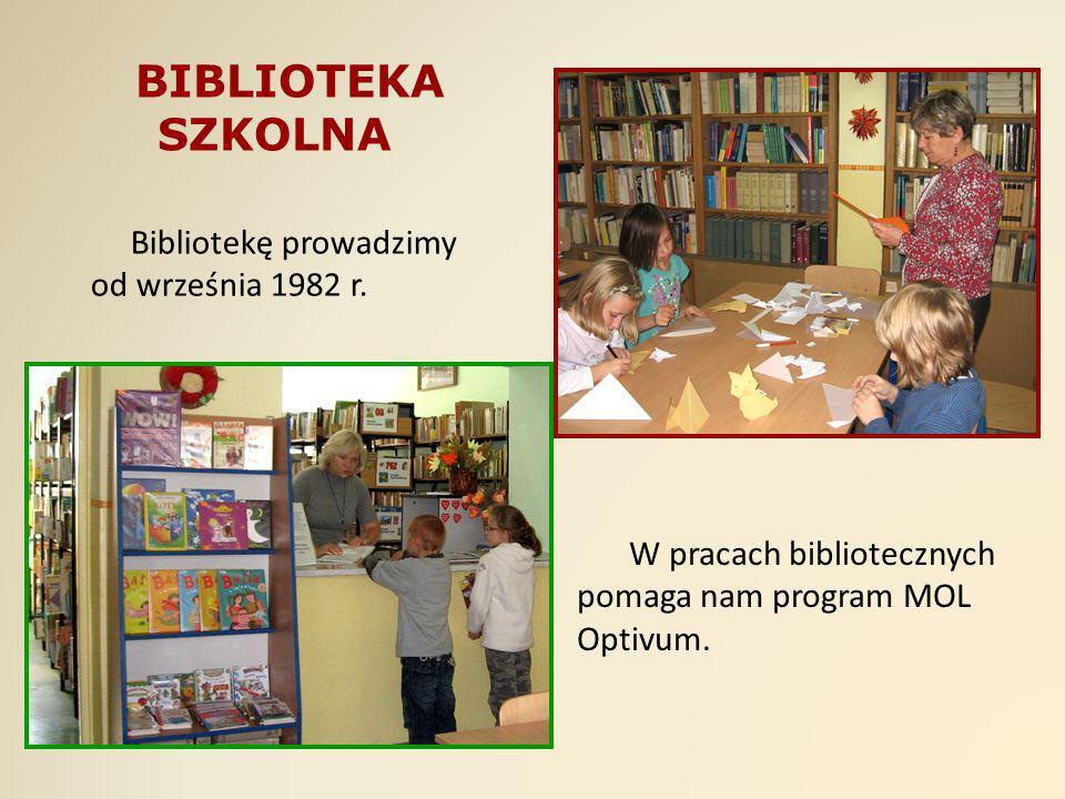 Bibliotekę prowadzimy od września 1982 r. W pracach bibliotecznych pomaga nam program MOL Optivum. BIBLIOTEKA SZKOLNA