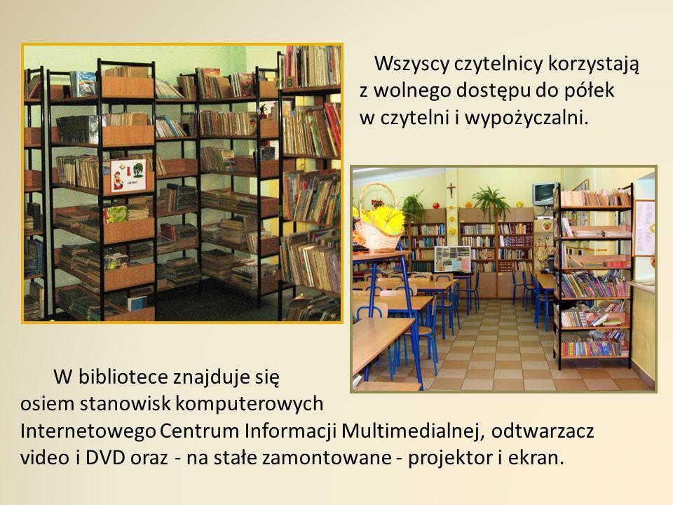 Wszyscy czytelnicy korzystają z wolnego dostępu do półek w czytelni i wypożyczalni. W bibliotece znajduje się osiem stanowisk komputerowych Internetow