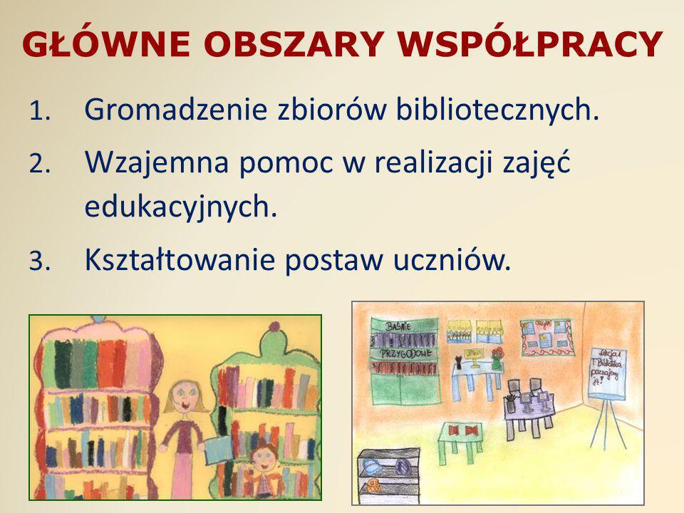 GŁÓWNE OBSZARY WSPÓŁPRACY 1. Gromadzenie zbiorów bibliotecznych. 2. Wzajemna pomoc w realizacji zajęć edukacyjnych. 3. Kształtowanie postaw uczniów.
