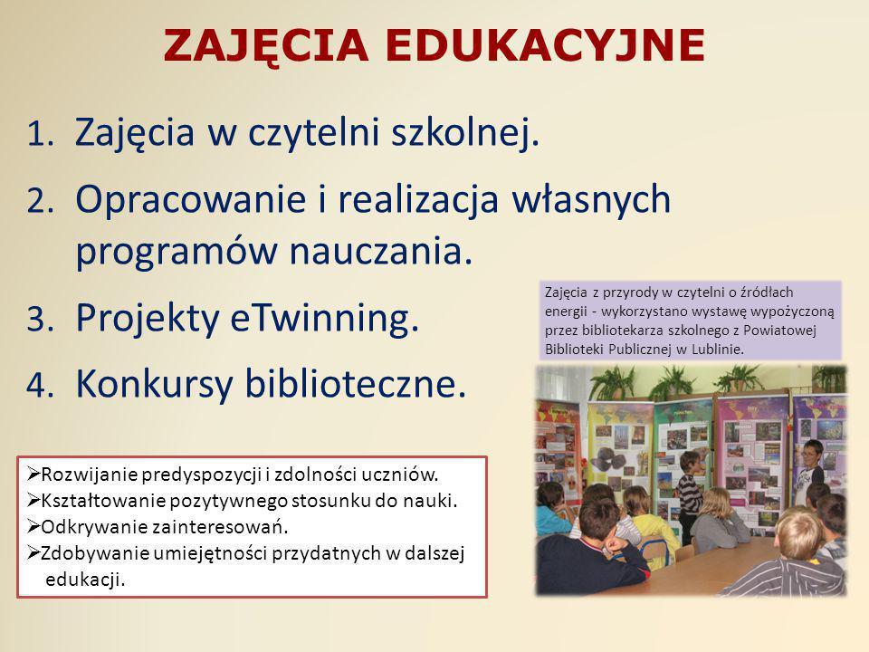 ZAJĘCIA EDUKACYJNE 1. Zajęcia w czytelni szkolnej. 2. Opracowanie i realizacja własnych programów nauczania. 3. Projekty eTwinning. 4. Konkursy biblio