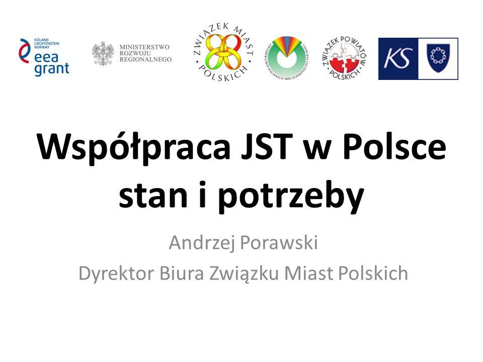 Współpraca JST w Polsce stan i potrzeby Andrzej Porawski Dyrektor Biura Związku Miast Polskich