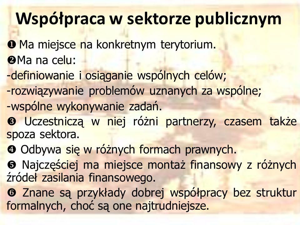 Współpraca w sektorze publicznym  Ma miejsce na konkretnym terytorium.