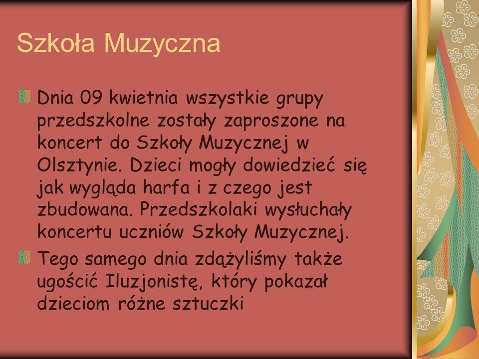 Szkoła Muzyczna Dnia 09 kwietnia wszystkie grupy przedszkolne zostały zaproszone na koncert do Szkoły Muzycznej w Olsztynie. Dzieci mogły dowiedzieć s