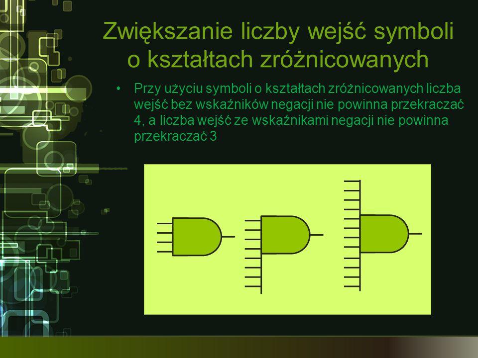 Zwiększanie liczby wejść symboli o kształtach zróżnicowanych Przy użyciu symboli o kształtach zróżnicowanych liczba wejść bez wskaźników negacji nie powinna przekraczać 4, a liczba wejść ze wskaźnikami negacji nie powinna przekraczać 3