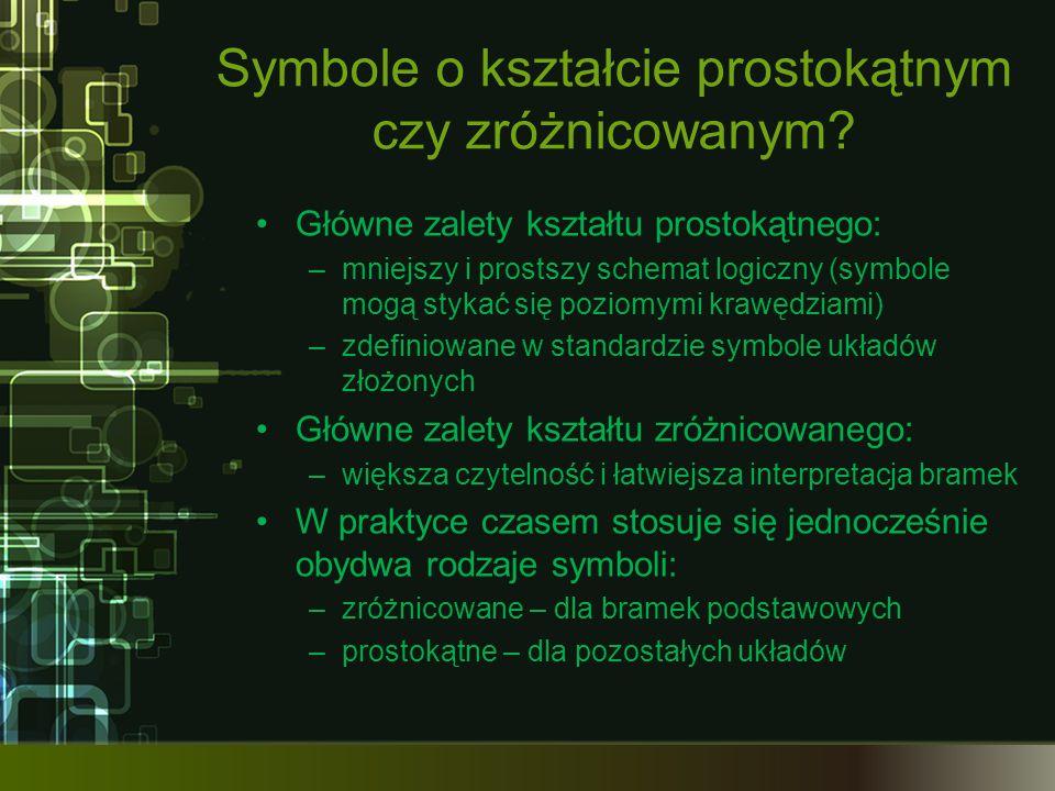 Symbole o kształcie prostokątnym czy zróżnicowanym.