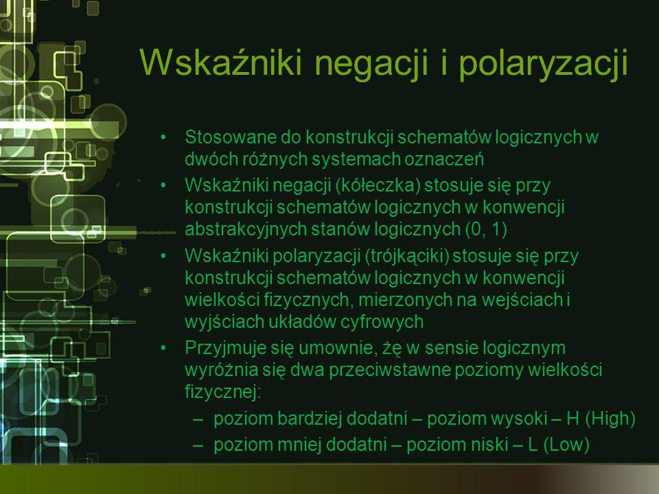 Wskaźniki negacji i polaryzacji Stosowane do konstrukcji schematów logicznych w dwóch różnych systemach oznaczeń Wskaźniki negacji (kółeczka) stosuje się przy konstrukcji schematów logicznych w konwencji abstrakcyjnych stanów logicznych (0, 1) Wskaźniki polaryzacji (trójkąciki) stosuje się przy konstrukcji schematów logicznych w konwencji wielkości fizycznych, mierzonych na wejściach i wyjściach układów cyfrowych Przyjmuje się umownie, żę w sensie logicznym wyróżnia się dwa przeciwstawne poziomy wielkości fizycznej: –poziom bardziej dodatni – poziom wysoki – H (High) –poziom mniej dodatni – poziom niski – L (Low)