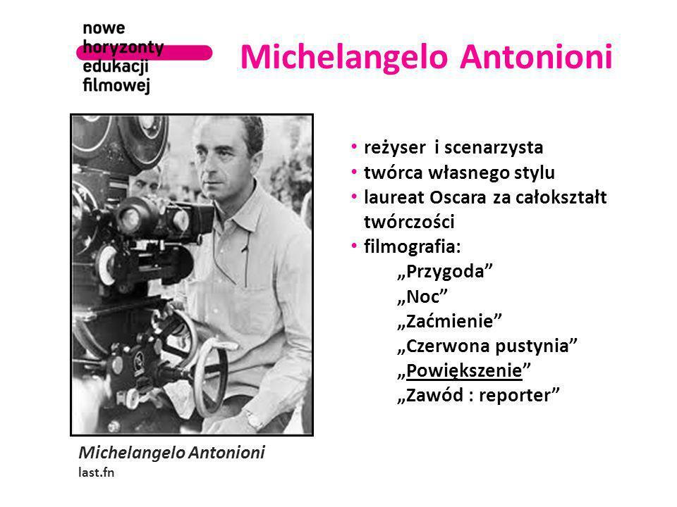 """Michelangelo Antonioni last.fn reżyser i scenarzysta twórca własnego stylu laureat Oscara za całokształt twórczości filmografia: """"Przygoda """"Noc """"Zaćmienie """"Czerwona pustynia """"Powiększenie """"Zawód : reporter"""
