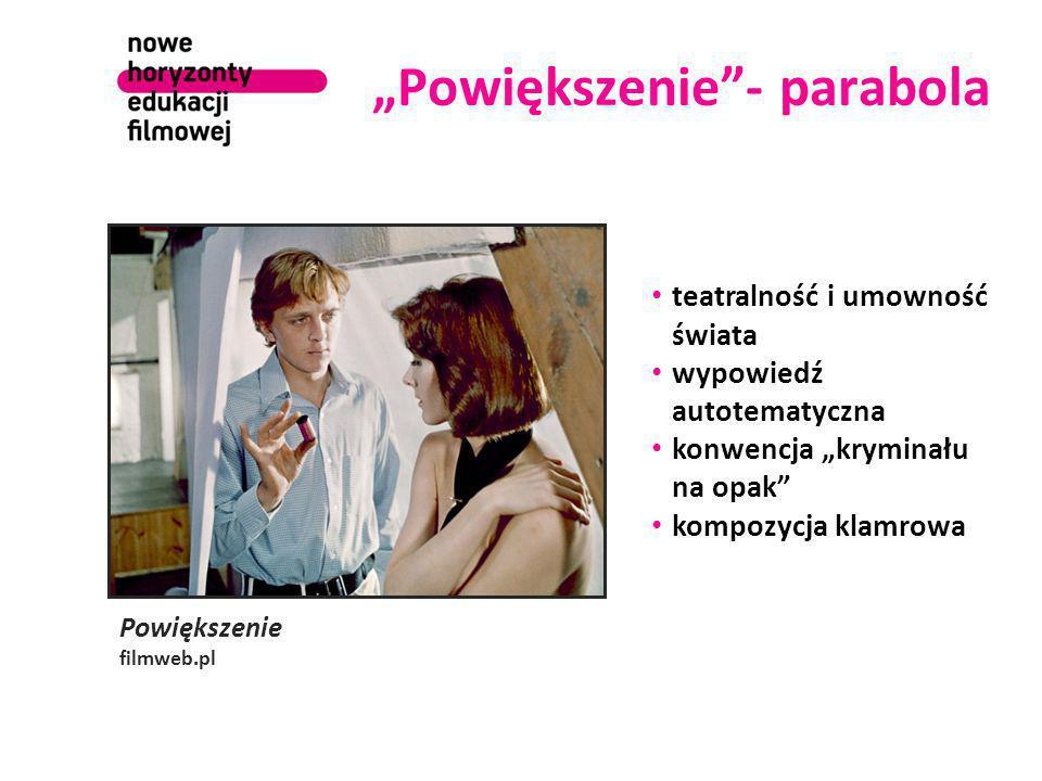 """""""Powiększenie""""- parabola Powiększenie filmweb.pl teatralność i umowność świata wypowiedź autotematyczna konwencja """"kryminału na opak"""" kompozycja klamr"""