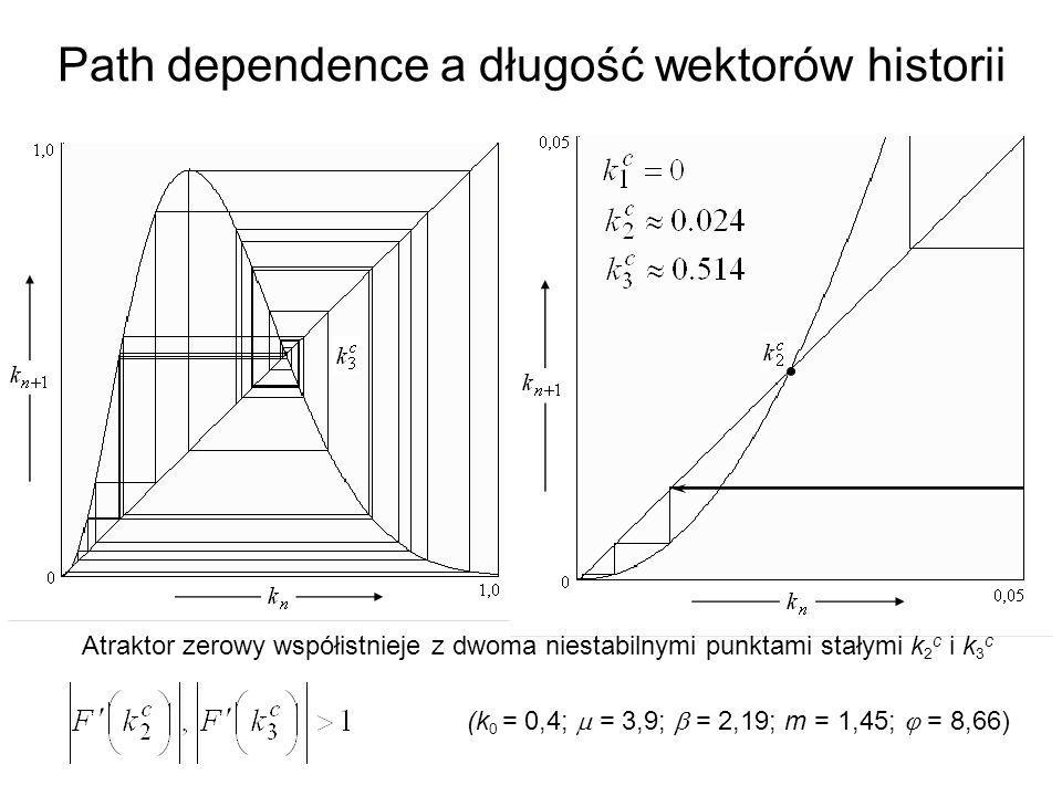 Path dependence a długość wektorów historii Wykres odwzorowania nie przecina się w ogóle z przekątną F(k) = k, zatem jedynym przyciągającym punktem stałym jest zero i do niego właśnie zmierza trajektoria startująca w punkcie k 0 = 0,4.