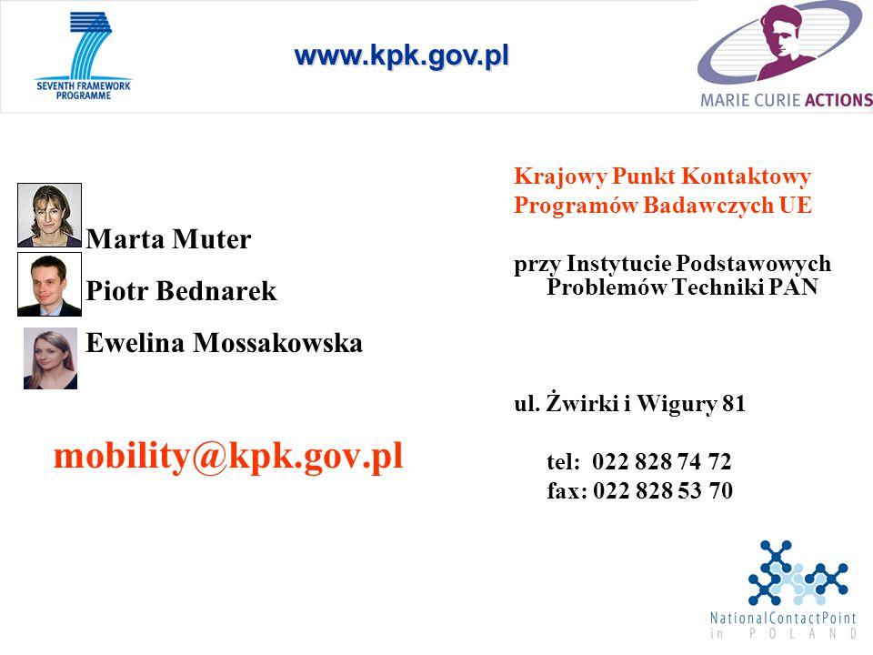 Marta Muter Piotr Bednarek Ewelina Mossakowska mobility@kpk.gov.pl Krajowy Punkt Kontaktowy Programów Badawczych UE przy Instytucie Podstawowych Problemów Techniki PAN ul.