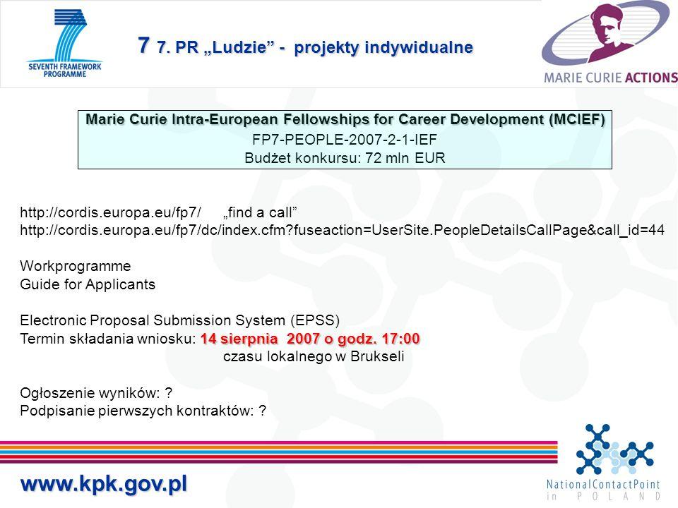"7 7. PR ""Ludzie"" - projekty indywidualne www.kpk.gov.pl Marie Curie Intra-European Fellowships for Career Development (MCIEF) FP7-PEOPLE-2007-2-1-IEF"