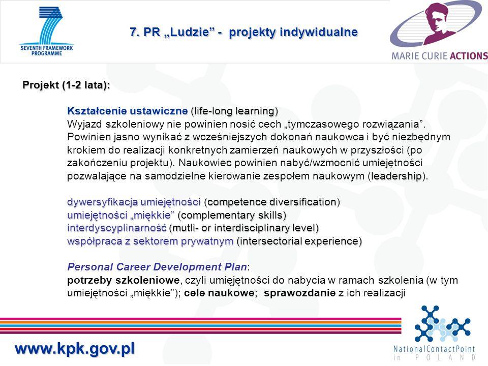 """7. PR """"Ludzie"""" - projekty indywidualne Projekt (1-2 lata): Kształcenie ustawiczne (life-long learning) leadership dywersyfikacja umiejętności(competen"""