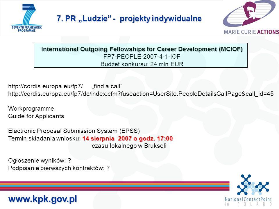 """7. PR """"Ludzie"""" - projekty indywidualne www.kpk.gov.pl International Outgoing Fellowships for Career Development(MCIOF) International Outgoing Fellowsh"""
